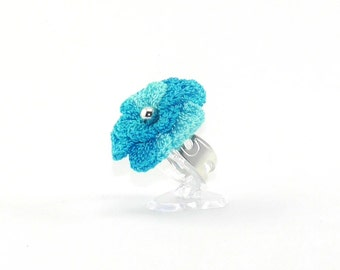 Crochet flower TURQUOISE ring