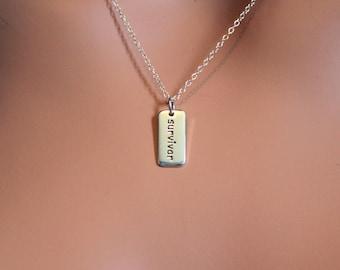 Sterling Silver Survivor Word Charm Necklace, Cancer Survivor Necklace, Survivor Word Necklace, Simple Survivor Necklace, Survivor Charm