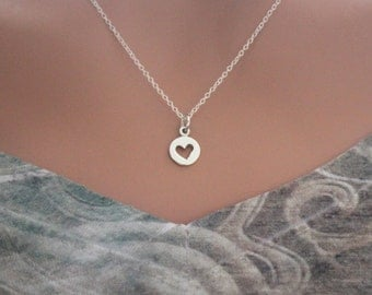 Tiny Sterling Silver Heart Cutout Necklace, Simple Heart Necklace, Anniversary Heart Necklace, Small Heart Necklace, Layering Heart Necklace