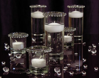 Mini Cylinders & Crystals Centerpiece, floating candle kit