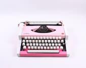 Best Quality - PINK OLYMPIA Traveller De Luxe - vintage typewriter- portable typewriter - working typewriter - gift