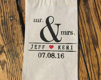 Hand Painted Personalized linen wine bag-Mr. & Mrs. custom names and wedding date