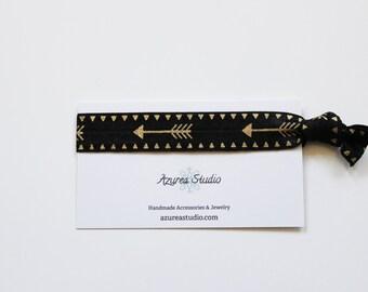 Black Gold Arrow Hair Tie