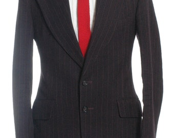 Vintage 1970's Burton Brown Pinstripe Flared Suit 38 S