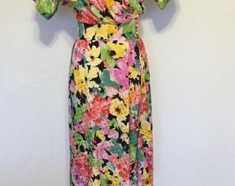 Vintage Silk Flower Print Dress 1980s Size 8 Medium