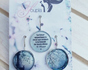Trio of earrings in resin (18mm diameter) - Chacha by Iris - trio 18 - collection the feather to the ear