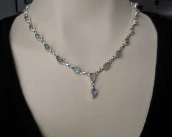 Rainbow Moonstone Silver Necklace, Moonstone Jewelry, Gemstone Y Necklace, Bridal, June Birthstone , Mother's Day Gift , Gift for Her