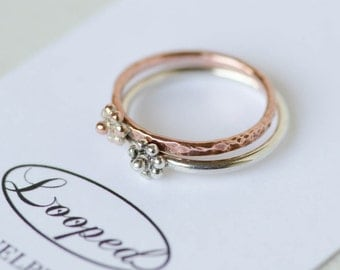 Floral Stacking Ring Flower Copper Stacking Ring