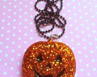 Halloween Glitter Pumpkin Pendant / Jack O Lantern Necklace / Cute Halloween / Fall Autumn Jewelry / Creepy Cute / Gothic Horror Alt Jewelry
