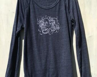 Embroidered Octopus Sweater, Octopus Sweatshirt, Ocean Life Sweater, Ocean Sweater