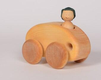 Wooden car, natural wooden car, little car by l'Atelier Cheval de bois