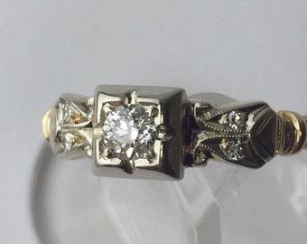 14kt Gold Round Brilliant Diamond Engagement Vintage 1940's Size 7