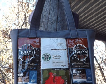 SALE Coffee and Canvas Bag Purse Recyled Upcycled Gray White Brown