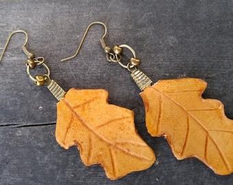 Oak leaf leather earrings