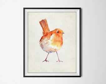 Robin Watercolor Wall Art - Christmas Robin - Winter Garden Bird Art Print - Chistmas Seasonal Holiday Home Decor - INSTANT DOWNLOAD #2520