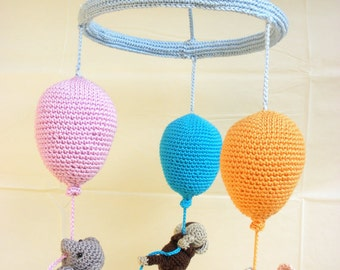Balloons baby mobile, crib mobile, crochet mobile, balloon mobile, baby mobile, nursery decoration, nursery furniture - Baby Shower