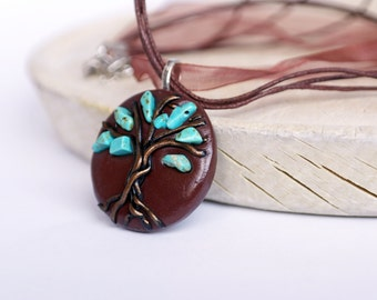 Turquoise Tree of life necklace, December Birthsone gemstone necklace OOAK