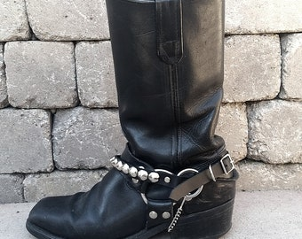 Genuine Black Leather Boot Strap With Nickel Cone Studs -*Single Boot Strap*-