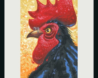 Rooster Painting, Chicken Painting, Rooster Art, Chicken Art, Animal Painting, Farm Animal Art,
