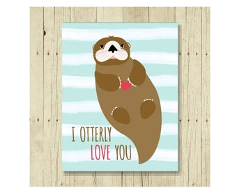 I Love You Magnet, Funny Magent, Refrigerator Magnet, Otter Magnet, Cute Fridge Magnet, Gifts Under 10, Small Gift, Funny Pun, Gift Magnet