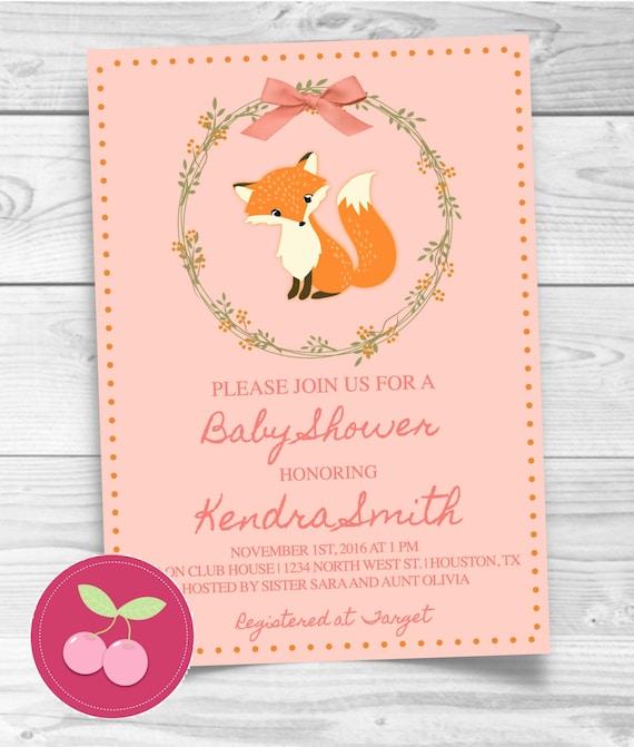 Fall Baby Shower Invitation Printable Girl Floral Woodland Fox