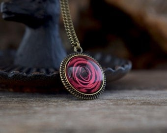 Red rose necklace, Rose pendant, Red flower necklace, Tiny flower pendant, Red rose jewelry, Romantic necklace, Rose cameo necklace NJ 021