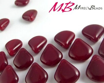 15 pcs Red Opaline, Dark Red Czech Glass Beads, 12x11mm Briolette Beads