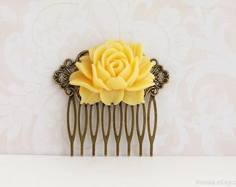 Yellow hair comb Yellow rose flower hair comb Floral filigree antique brass rustic yellow hair comb Yellow wedding bridal hair accessory