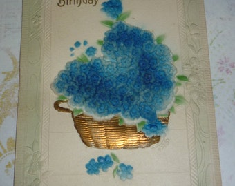 Basket of Flocked Deeply Embossed Forget-Me-Nots Antique Birthday Postcard