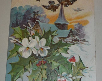 Pretty New Year's Postcard Holly, Birds, Church Steeple