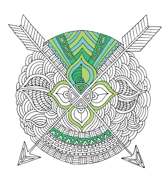 Aztec Coloring Pages Pdf : Printable instant download arrow aztec tribal coloring page