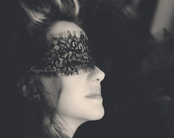 Dramatic Black Lace Face Mask Perfect for Masquerade Ball or New Year Celebration