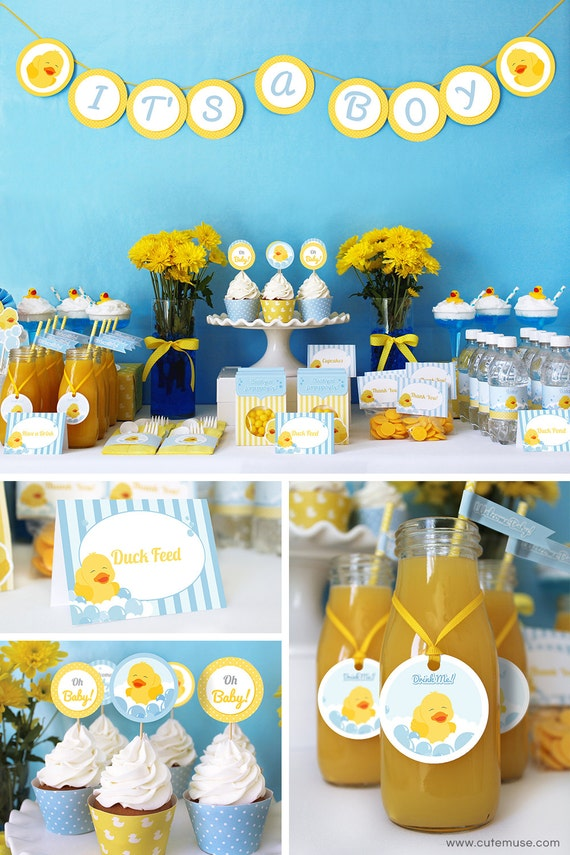 Duck Baby Shower Decorations, Printable Baby Shower Party Decorations, Rubber  Ducky Party Decorations Printable Package, INSTANT DOWNLOAD