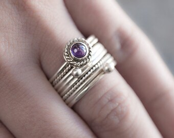 Amethyst ring silver. Elegant stacking rings set of 4 with african amethyst