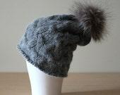 Baby Alpaca hat, Fur pom beanie, Grey knitted hat, Pom hat with cables, Cable knit pom hat, Fur bobble hat, Chunky knit, Warm winter hat