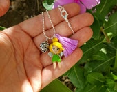 Tinkerbell disney inspired collection, fairy necklace. Disney  jewelry. Tinkerbell  jewelry.Clay charm. Clay  doll.