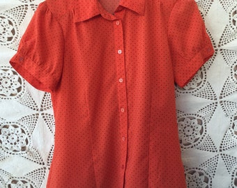 NOTATIONS Orange Polka dot Button up Blouse Size S