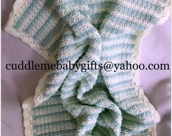 Baby Shower Handmade Crochet Baby Blanket baby Mint Green and White Baby Afghan Baby Shower Gift Neutral Gender Crochet Baby Blanket
