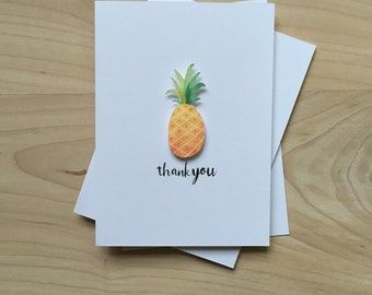 Pineapple Thank You Cards, Cute Thank You Card Set, Pineapple Fruit Notecards | Set of 8