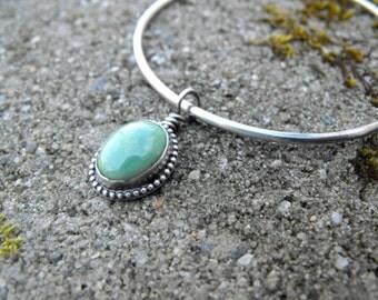 Sterling Silver Bangle Bracelet Turquoise Charm Bracelet Turquoise Bangle Bracelet Kingman Turquoise Bracelet
