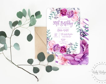 Printable Birthday Invitation | Purple Peony Watercolor Floral | Bohemian Floral Invitation | 30th Birthday | First Birthday Invitations