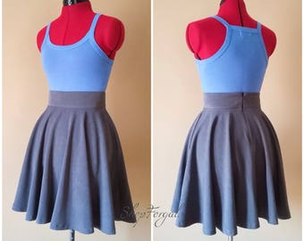 Full circle skirt, charcoal grey, side pockets, high waisted, pin up clothing, Black skater skirt, red rockabilly, lolita Gothic, plus size