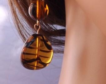 Tiger pattern earrings, striped earrings, amber earrings, black striped earrings, orange earrings, tiger drop earrings,
