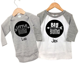 Big Brother Little Brother, Personalized Big Brother Shirt, Big Brother Little Brother Outfits , Matching Sibling Outfits, Grey Big Brother