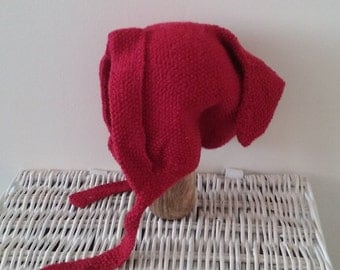 vintage pixie bonnet // 1940s pixie bonnet // vintage toddler bonnet // wool bonnet