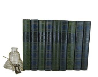 Blue Green  Decorative Books for Interior Design and Home Decor, Blue Vintage Books, World's Popular Classics