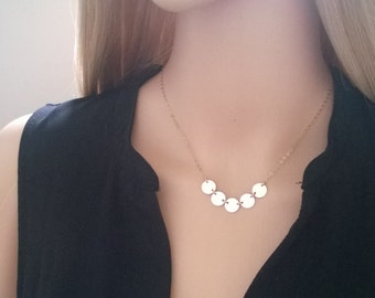 14Kt gold-filled disc necklace; simple gold necklace; gold circles necklace
