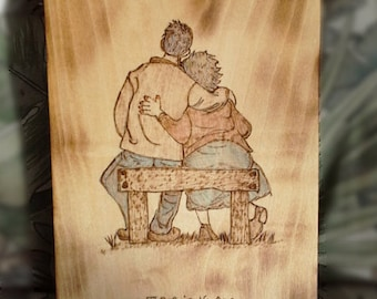 Old Couple in Love on a Bench, Together Forever, Grow old with me, Anniversary Gift, Memorial Gift, Woodburned Art
