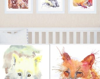 Forest Animals Set of 3 Prints Woodland Nursery Art Watercolor Painting  Boy Nursery Decor Baby Girl  Woodland Creatures Watercolour Print