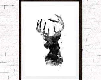 Deer Wall Art, Black Watercolor Deer Art, Printable Wildlife, Wildlife Prints, Water Color Print, Deer Decor, Animal Art, Antlers Wall Art